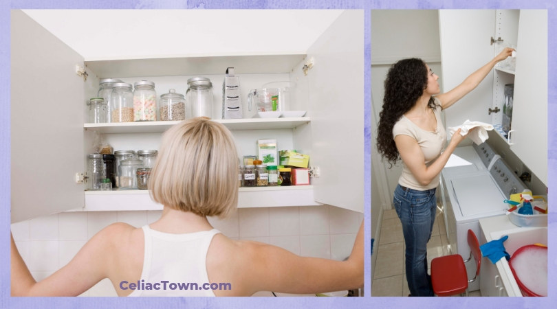 Clearing Your Cupboards From Gluten woman at open cupboard