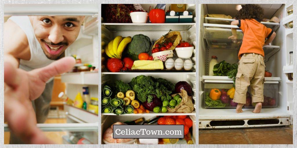 Refrigerator Going Gluten Free- Man cleaning fridge - child climbing-