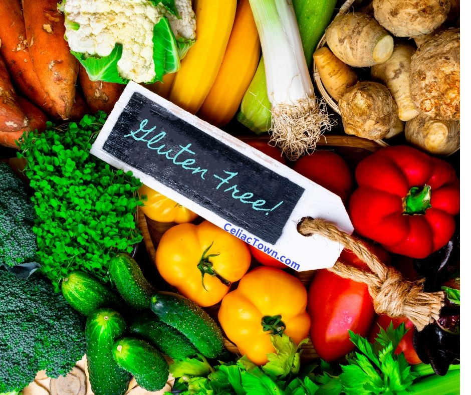 fresh vegetable with gluten free foods tag